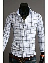 White Men's Fashion Causal Business Check Shirt