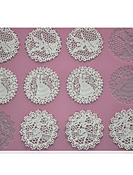 FOUR-C Baking Tools Embossing Silicone Pad Lace Cake Mat for Decoration,Baking Pad Lace Mat Decorating Tools Color Pink