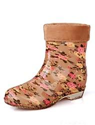 Women's Shoes Rubber Flat Heel Rain Boots/Round Toe Boots Outdoor Blue/Red/AnimalPrint