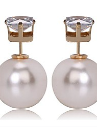Women's Fashion CZ Zircon Pearl Stud Earring
