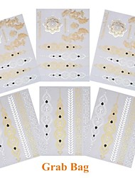 6PCS New Mixed Temporary Tattoos Metallic Gold Tattoos Flash Tattoos Jewelry Tattoos Wedding Party Tattoos
