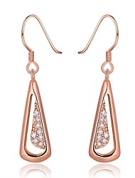 Fashion Diamante Geometric Rose Gold Rose Gold-Plated Drop Earrings(Rose Gold)(1Pair)