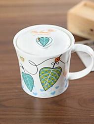 creativo fiore e foglie tazza di ceramica con copertura motivo decorativo casuale