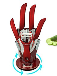 6 Pieces Red Patterned Ceramic Ceramic Knife Sets with Holder, 3''/4''/5''/6'' Kitchen Knives with Acryl Holder