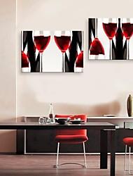 E-Home® Leinwand Kunstweinschale Dekoration Malerei Satz 2