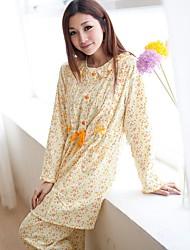 Women's Flower Printed 2pcs Set European Breastfeeding Sleepwear Pajama Nursing Maternity Nightgown