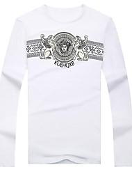 Informeel - Opdruk - Lange Mouw - MEN - Katoen/KatoenMixen - T-shirts - Zwart/Wit/Grijs