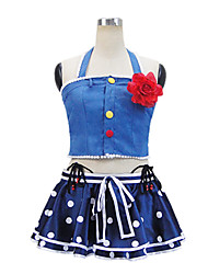 Inspired by Love Live Maki Nishikino Anime Cosplay Costumes Cosplay Suits Patchwork Blue Sleeveless Top / Skirt
