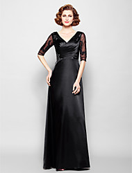 Lanting Sheath/Column Plus Sizes / Petite Mother of the Bride Dress - Black Floor-length Half Sleeve Stretch Satin / Lace