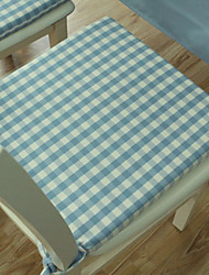 Blue Polyester Rectangular Chair Pads