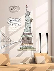 decalques de parede adesivos de parede, estátua da liberdade de parede de pvc adesivos