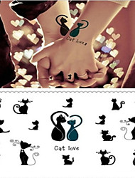 Cat Lovers a Couple Fall in Love Tattoo Stickers Temporary Tattoos(1 pc)