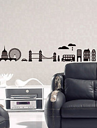 Environmental Removable City Sketch PVC Wall Sticker