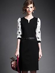 Women's European V Neck Seven Quarters Sleeve Slim Cut Dress(Polyester fiber)