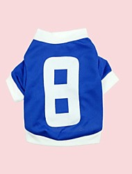 No.8 Eyelet Fabric Blue Sports Shirt for Pets Dogs (Assorted Sizes)