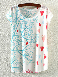 Damen Blumen Aktiv Ausgehen T-shirt,Rundhalsausschnitt Alle Saisons Kurzarm Mehrfarbig Baumwolle Mittel