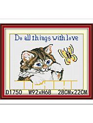 kits de bordado de la mano del gato europa cruz de diamantes costura puntada de la pared decoración 22cm * 28cm
