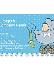 Business Cards 200pcs Baby Products Blue Pattern 2 Sided Printing of Fine Art Filmed Paper