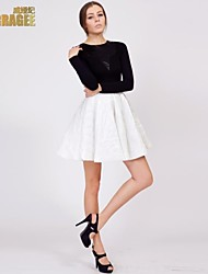 Verragee® Temperament Was Thin Long-sleeved Dress tutu Skirt Umbrella Bottoming Large Size Women