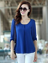 Women's Casual/Daily Simple / Street chic Summer Blouse,Solid Round Neck Long Sleeve Blue / Red / White / Black / Yellow Translucent