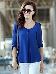 Mulheres Blusa Casual Simples / Moda de Rua Verão,Sólido Azul / Vermelho / Branco / Preto / Amarelo Decote Redondo Manga LongaLeve