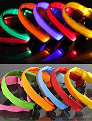 Dog Collar Waterproof / Reflective / LED Lights / Adjustable/Retractable Rainbow Nylon / Rubber