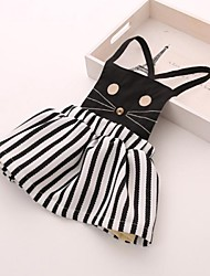 Girl's Fashion Striped Cat Dress