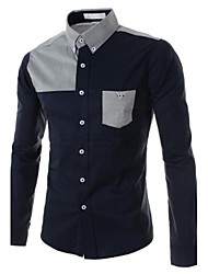 Men's Solid Casual Shirt,Cotton / Polyester Long Sleeve Blue / White