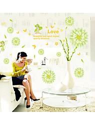 parede adesivos de parede decalques, estilo flor verde parede pvc adesivos