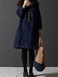 Women's  Embroidery Loose Long Sleeve Dress