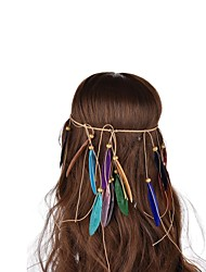 Lureme® Bohemian  Weave Wooden Beads Multicolour Peacock Feather Hair Accessories