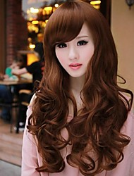 Fluffy big wave curly hair inclined bang nylon hair wigs