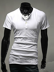 T-shirt Uomo Casual Tinta unita Cotone Manica corta-Nero / Blu / Bianco / Grigio