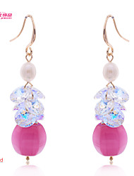 Lady's /Party/Daily Neoglory Jewelry Dangle Drop Earring with High Sparkly Crystal Imitated Opal Pearl