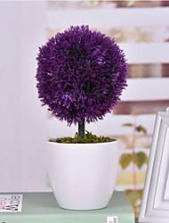 "3.9""L 9.8""H Romantic Lavender Ball in White Ceramic Basin"