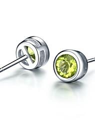 925 sterling silver earrings round for women naturalPeridot(1 pair)