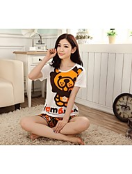 Women's 8515Knitted Cotton Fabrics With Short Sleeves Cartoon Design Comfortable Leisure Wear Suits
