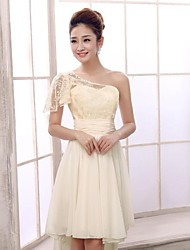 Short/Mini Chiffon Bridesmaid Dress - Champagne A-line One Shoulder