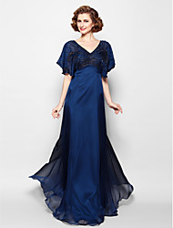 Lanting Bride® A-line Plus Size / Petite Mother of the Bride Dress Floor-length Short Sleeve Chiffon with Beading