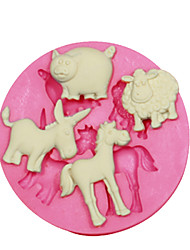 Animal Shape Mould Sheep Pig Donkey Horse Cake Decorating Silicone Mold For Fondant Candy Crafts Jewelry PMC Resin Clay