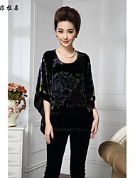 Women's Vintage/Print/Party/Work Inelastic ½ Length Sleeve Regular T-shirt (Silk/Others)
