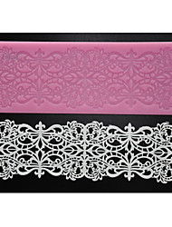 FOUR-C Cake Lace Mat Sugar Art Silicone Mold Baking Supplies,Silicone Mat Fondant Cake Tools Color Pink