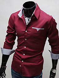 m&moda casual camisa de manga longa l dos homens