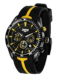 Time100 Men's Fashional Multifunctional Silicone Strap Chronograph Quartz Watches(Assorted Colors)