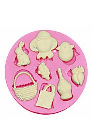 8 trous gâteau thème ferme moule en silicone moule en silicone pour la décoration fondantes artisanat de bonbons bijoux PMC argile de