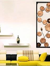 E-HOME® Metal Wall Art Wall Decor, Long Lotus Pattern Wall Decor One PCS