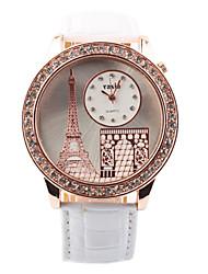 Women's Fashion Vogue Paris Eiffel Tower Design Circular Dial PU Leather Strap Quartz Wrist Watches(Assorted Colors)