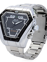 WEIDE WH1102-2 Water Resistant Stainless Steel Dual Display Wrist Watch for Men (Silver,1 x SR626)