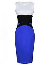Платье - До колен - Полиэстер/Хлопок - Для работы