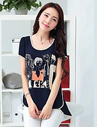 Muairen Women'S Korean Casual Loose Chiffon Shirt Printing Tops